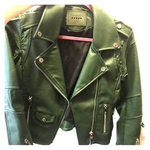 BLANKNYC olive green leather jacket